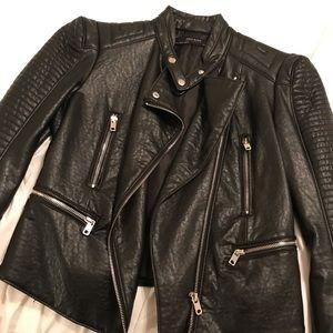Black Zara moto leather jacket